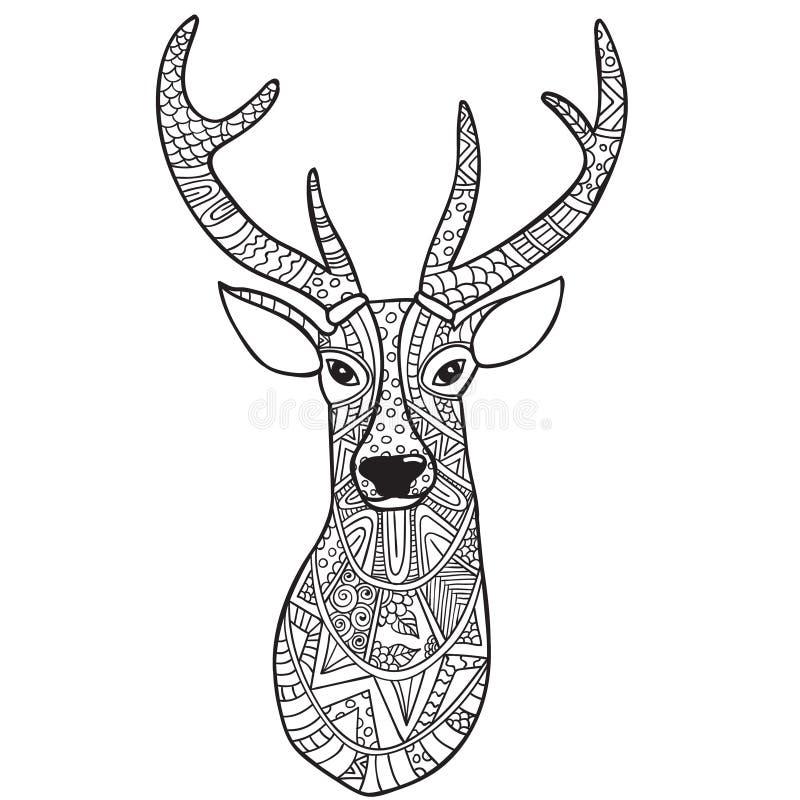 Hjortar Hand-dragen ren med den etniska klottermodellen Färga sidan - zendala, för avkoppling- och meditationvuxna människor royaltyfri illustrationer