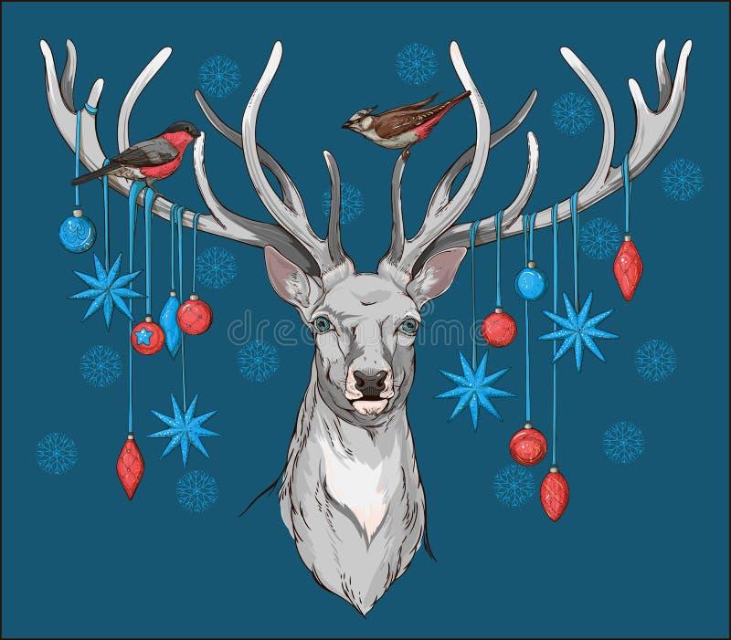 Hjortar head med horn, fåglar och juldekoren vektor illustrationer