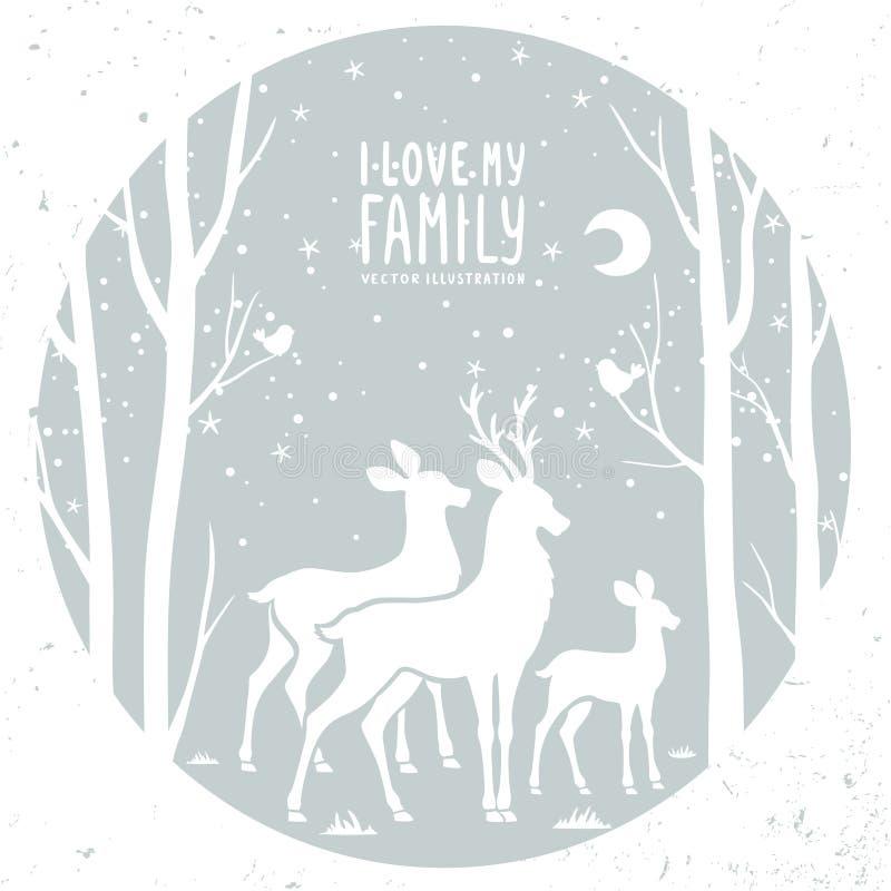 Hjortar i ramen stock illustrationer