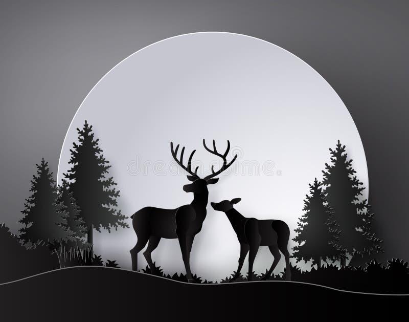 Hjortar i skog med fullmånen stock illustrationer