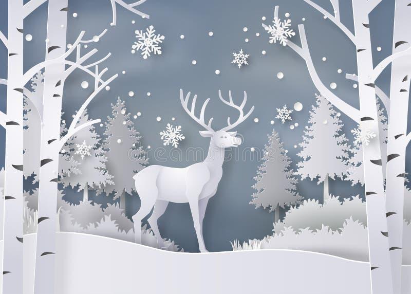 Hjortar i skog med snö royaltyfri illustrationer