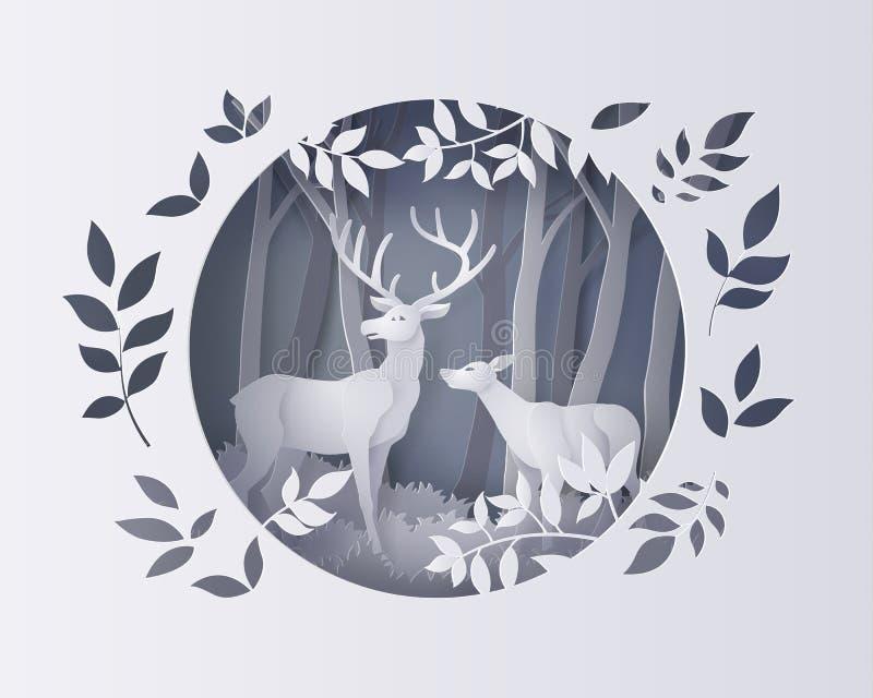 Hjortar i skog med snö vektor illustrationer