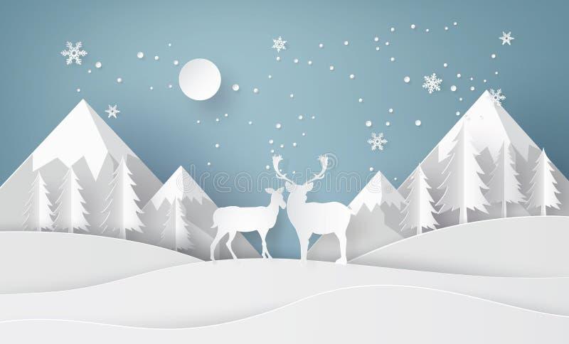 Hjortar i skog med snö stock illustrationer