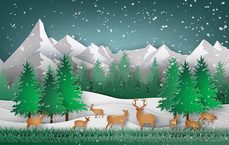 Hjortar i skogen stock illustrationer