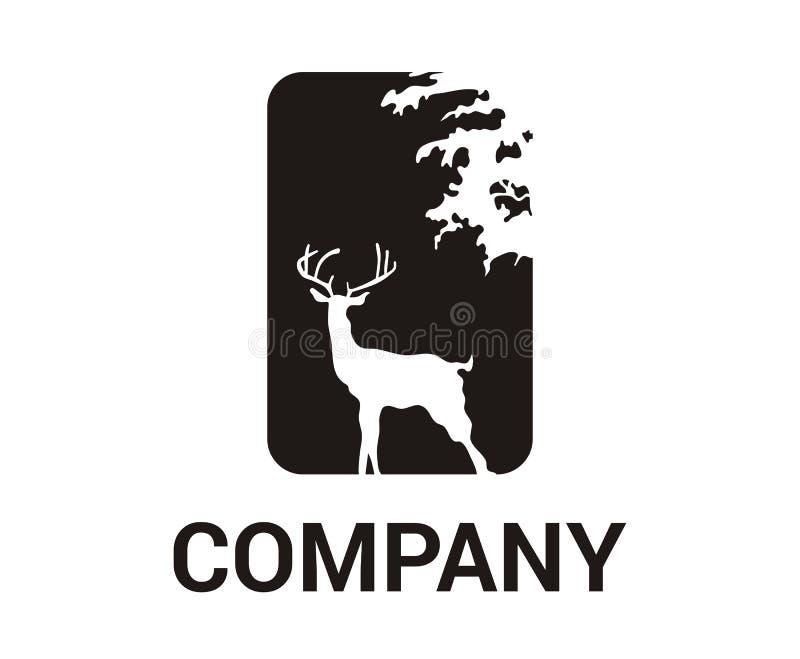Hjortar i skoglogo stock illustrationer