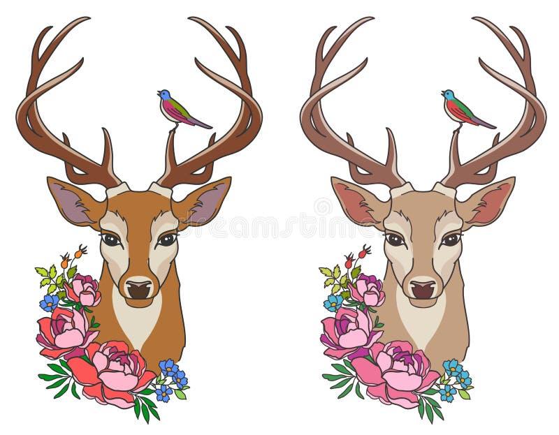 Hjortar med blommor royaltyfri illustrationer