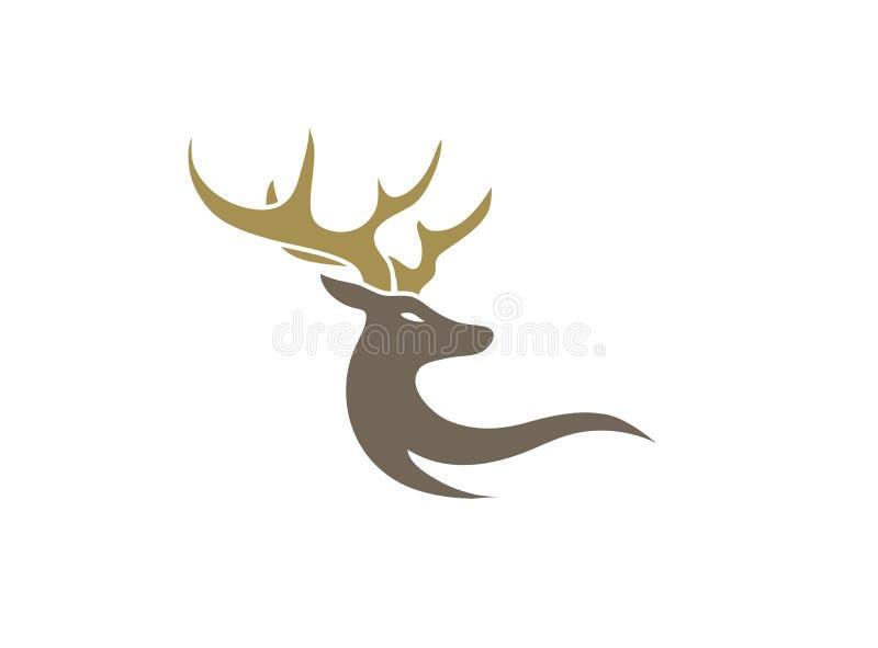Hjortar med stora horn för logodesign royaltyfri illustrationer