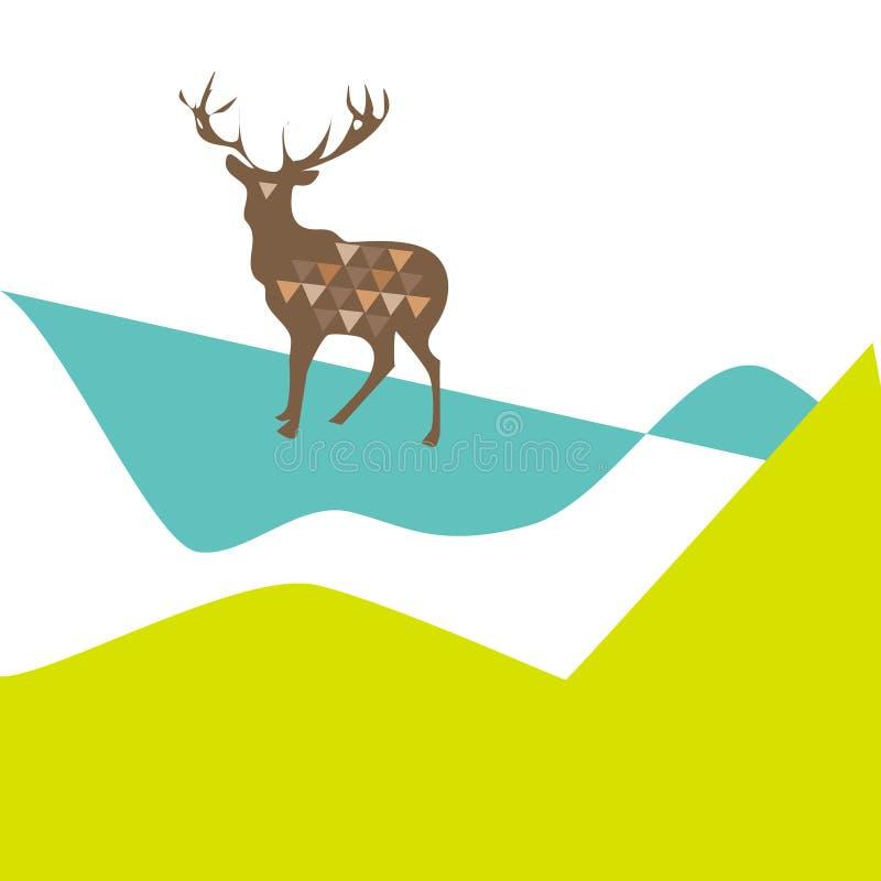 hjortar med trianglar på en ljus kontrastera bakgrund stock illustrationer