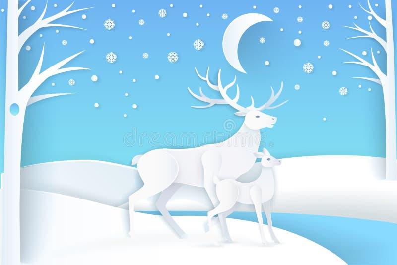 Hjortar och att lisma i snöig skog på nattvektorn stock illustrationer