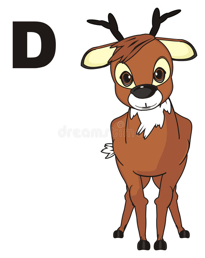 Hjortar och bokstav royaltyfri illustrationer