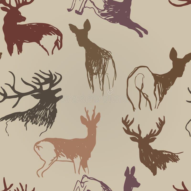 Hjortar och doe royaltyfri illustrationer