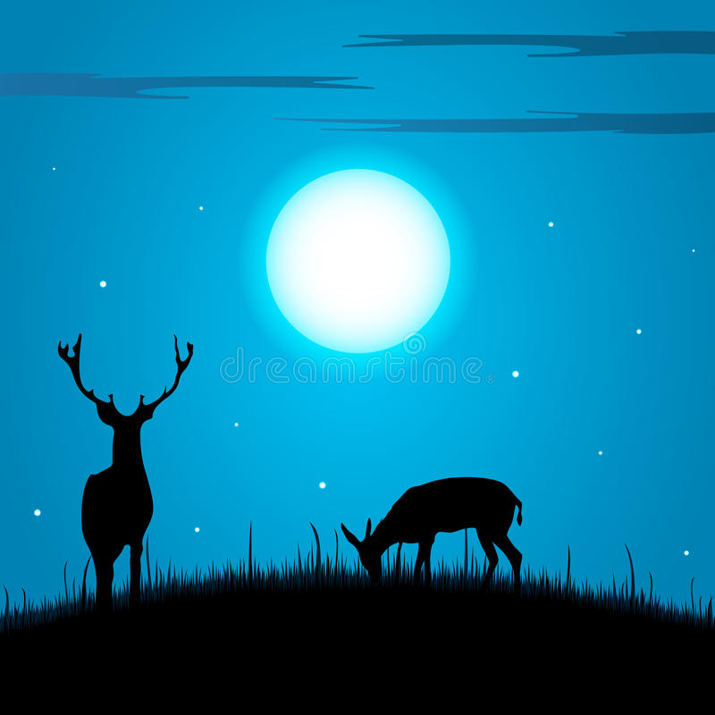 Hjortar och doe under fullmånebakgrunden stock illustrationer