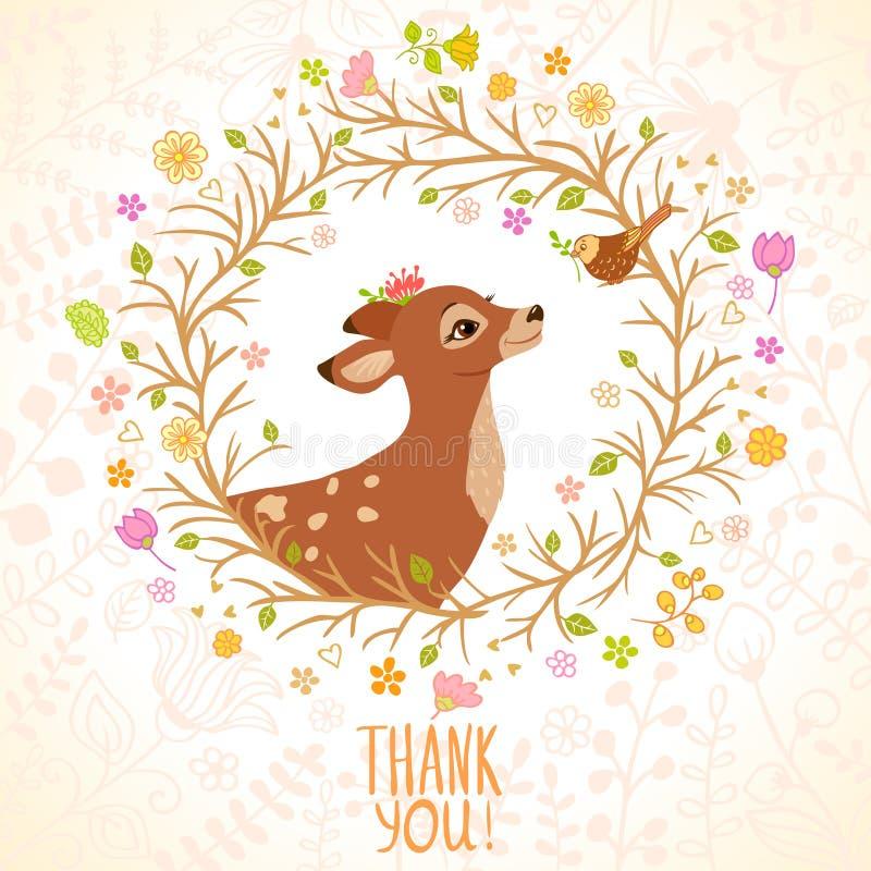 Hjortar och fågel vektor illustrationer