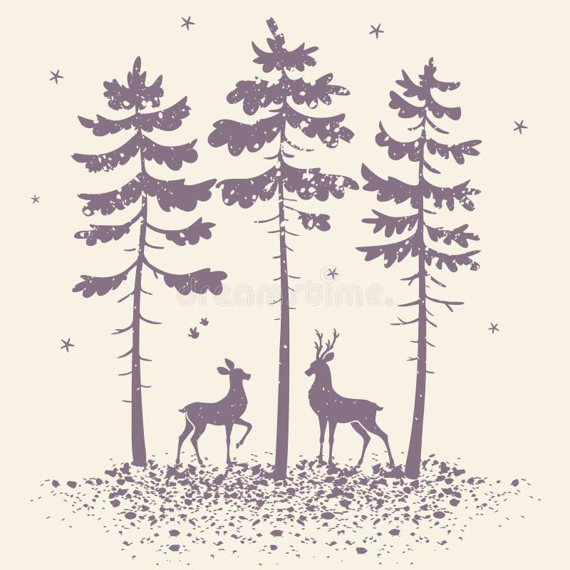 Hjortar och skog royaltyfri illustrationer