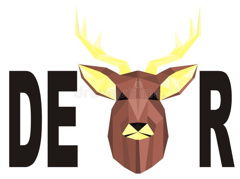 Hjortar och svart ord royaltyfri illustrationer