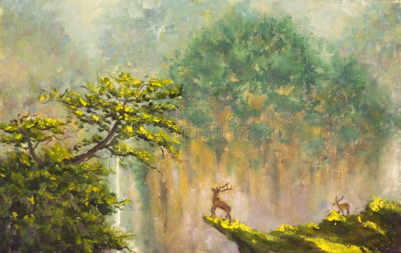 Hjortar på kanten av en klippa i en bergskog vektor illustrationer