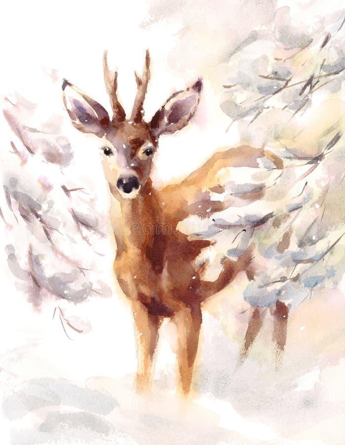 Hjortar som omges av den djura illustrationen för den snöig filialvattenfärgvintern, räcker målat