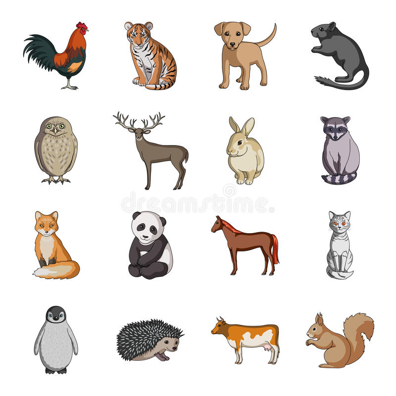Hjortar, tiger, ko, katt, tupp, uggla och annan djurart Djur ställde in samlingssymboler i symbol för tecknad filmstilvektor royaltyfri illustrationer