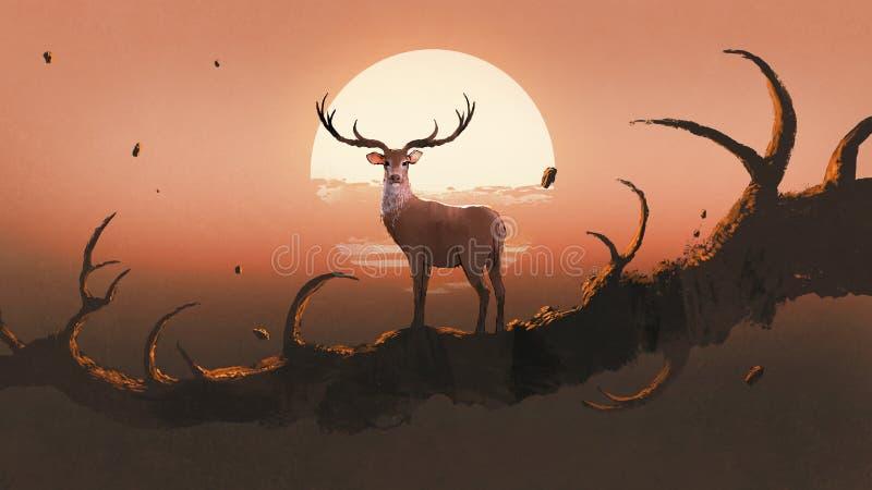 Hjortarna på ett träd på solnedgången royaltyfri illustrationer