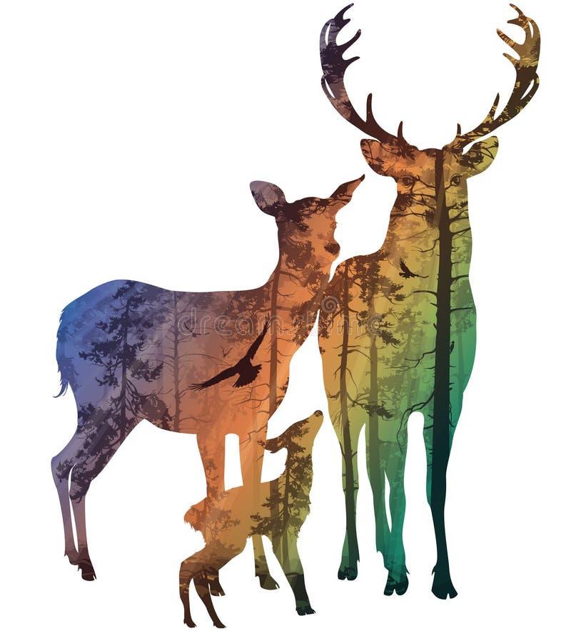 Hjortfamilj vektor illustrationer