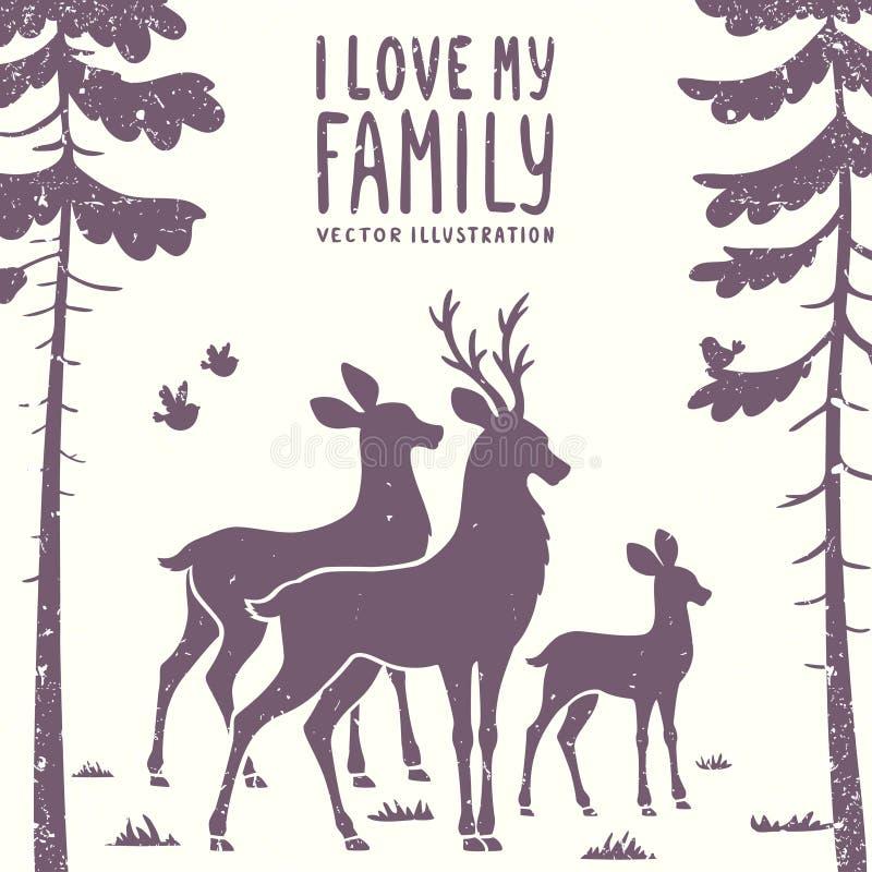 Hjortfamilj royaltyfri illustrationer