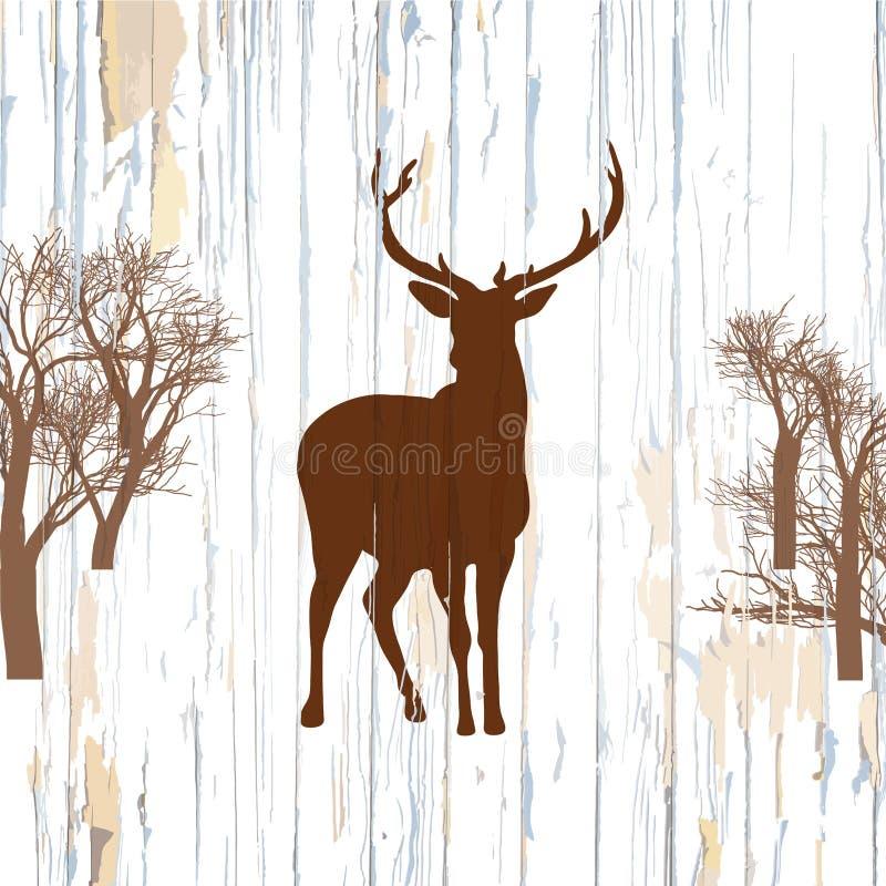 Hjortform på gammal bakgrund vektor illustrationer