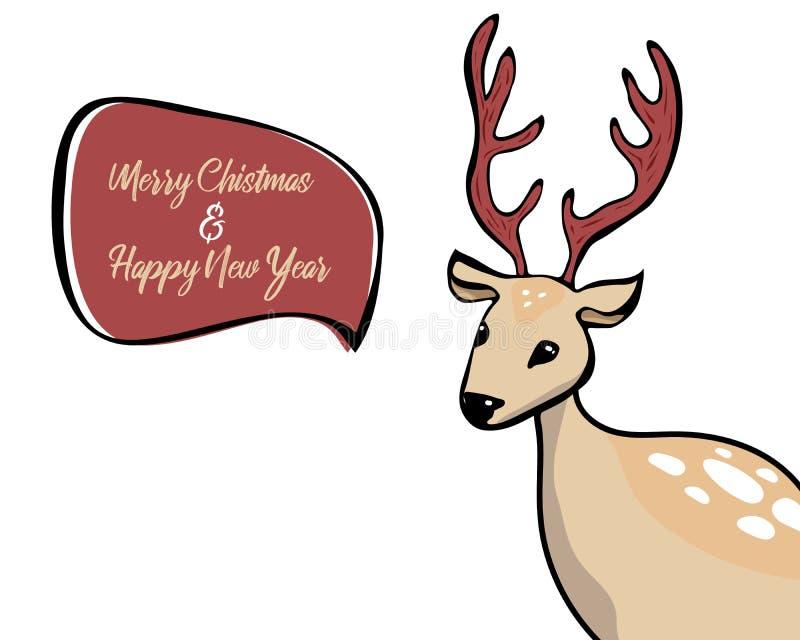 Hjorthuvud med anförandebubblan som isoleras på vit bakgrund konstvektorillustration hjort säger glad jul och lyckligt nytt år stock illustrationer