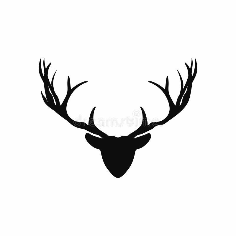 Hjorthuvud med horn på kronhjortkonturn Svart kontur av julhjortar för garnering stock illustrationer