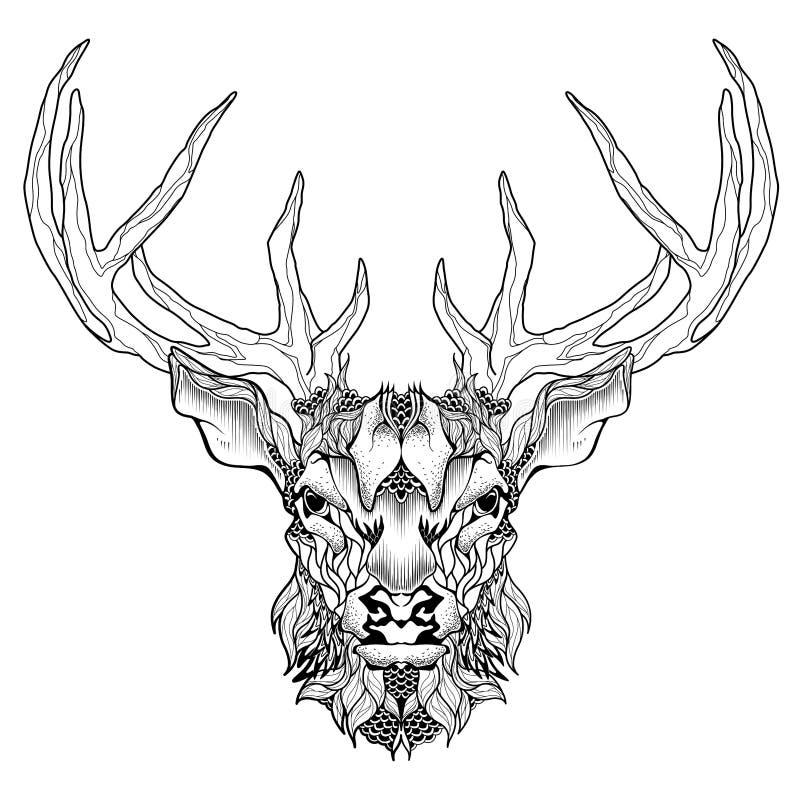 Hjorthuvudtatuering psykedeliskt zentanglestil royaltyfri illustrationer