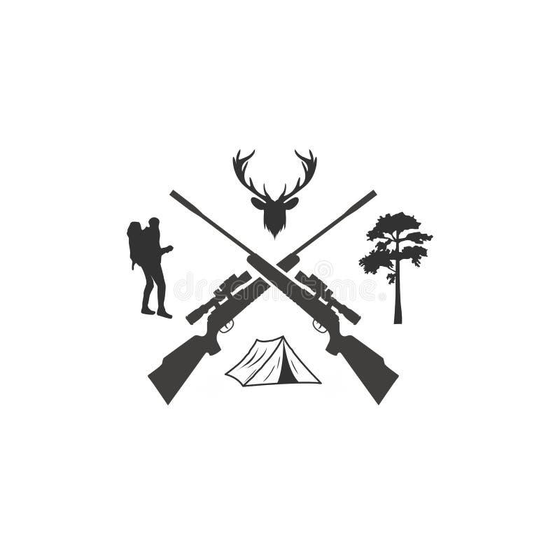 Hjortjakt med arg logo för gevär vektor illustrationer