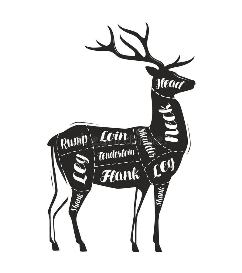Hjortköttklipp Menyn f?r restaurang eller slaktaren shoppar vektor royaltyfri illustrationer