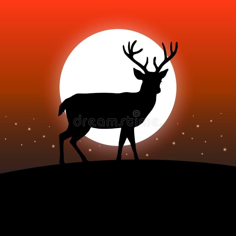 Hjortkontursammanträde på en kulle som är främst av månen Röd bakgrund för natthimmel royaltyfri illustrationer
