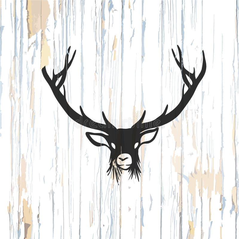 Hjortlogo på träbakgrund royaltyfri illustrationer