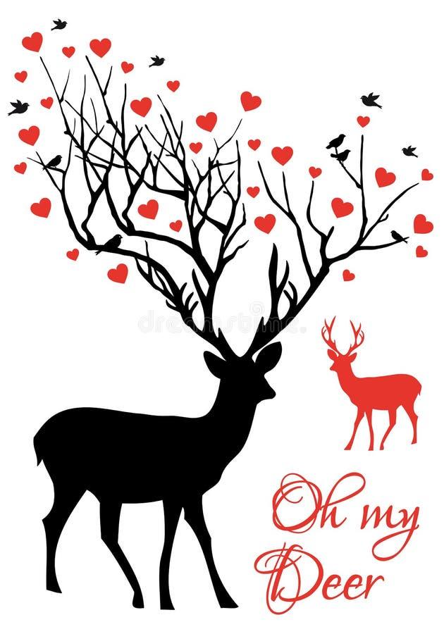 Hjortpar med röda hjärtor, vektor stock illustrationer