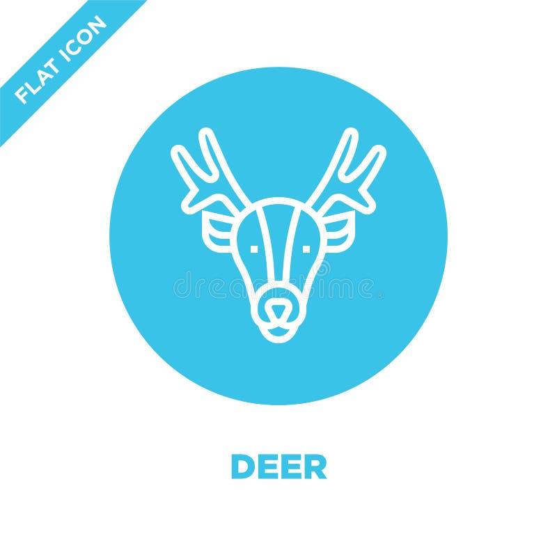 hjortsymbolsvektor från djur huvudsamling Tunn linje illustration för vektor för hjortöversiktssymbol Linjärt symbol för bruk på  royaltyfri illustrationer