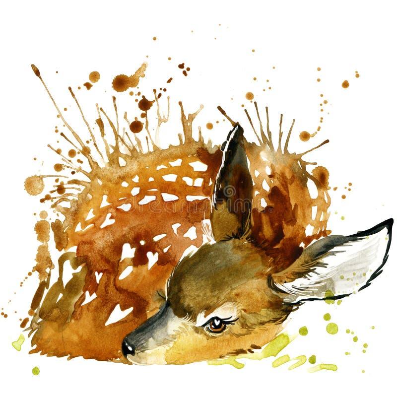 HjortT-tröjadiagram, hjortillustration med färgstänkvattenfärgen texturerade bakgrund royaltyfri illustrationer