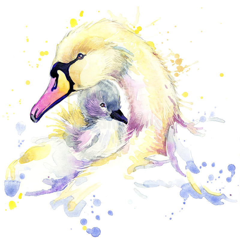 HjortT-tröjadiagram, hjortillustration med färgstänkvattenfärgen texturerade bakgrund SvanT-tröjadiagram, svanillustration med stock illustrationer