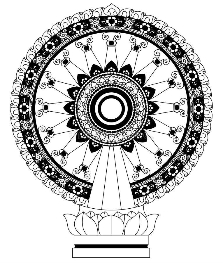 Hjul av det Dhamma hjulet av liv royaltyfri illustrationer