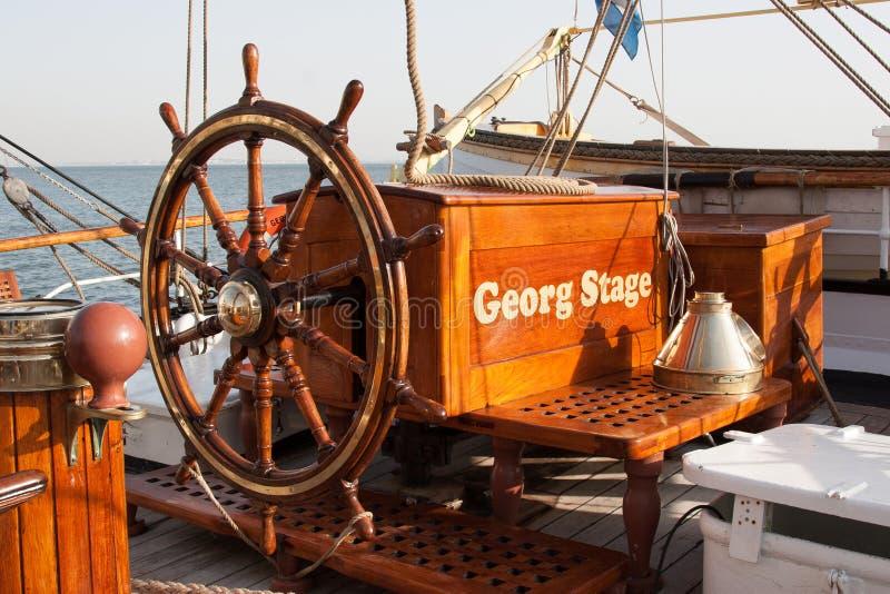 Hjul av det Georg Stage fartyget royaltyfria bilder