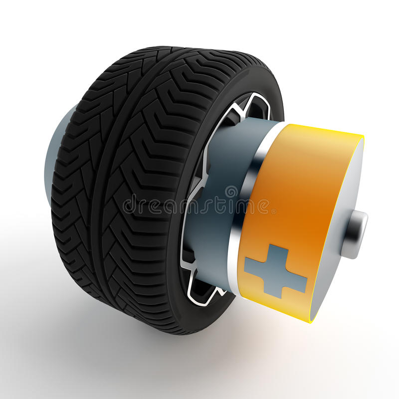 Hjul av en bil med ett fäst batteri stock illustrationer