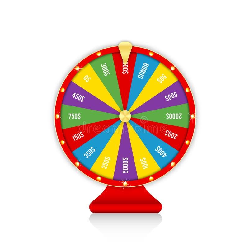 Hjul av förmögenhet, färgrikt roterande förmögenhethjul Den realistiska roulettdesignen för lotterit, kasino spelar vektor illustrationer
