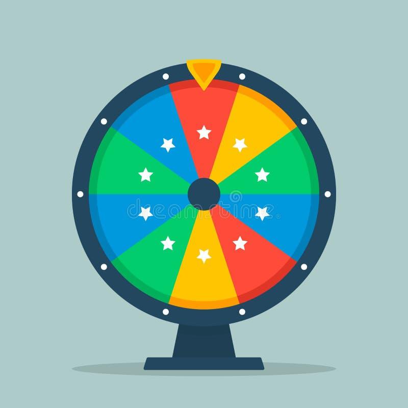 Hjul av förmögenhetillustrationen av en lägenhet Tomt färgrikt hjul av förmögenhet som isoleras från bakgrunden stock illustrationer