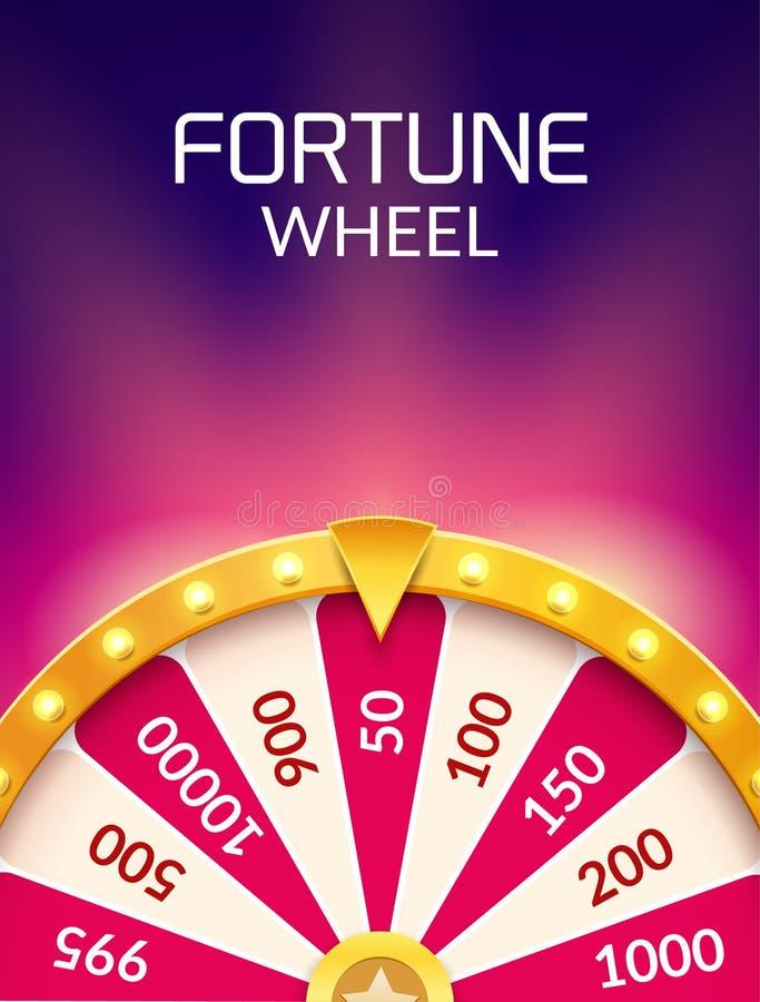 Hjul av illustrationen för förmögenhetlotterilycka Kasinolek av möjligheten Segerförmögenhetroulett Vågspelmöjlighetsfritid vektor illustrationer