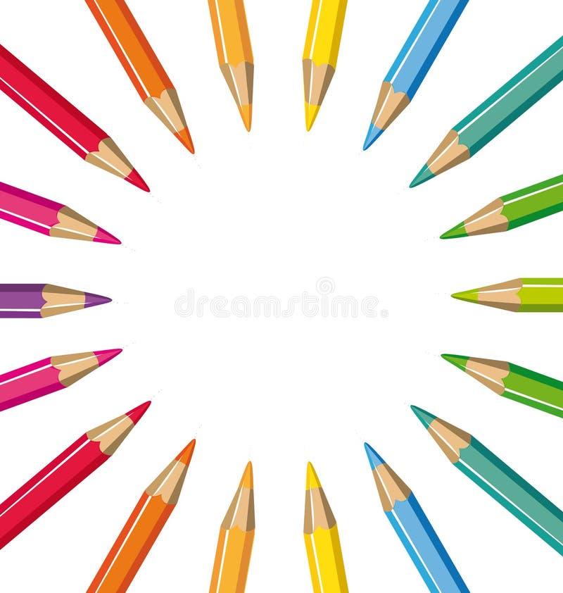 Hjul av kulöra blyertspennor vektor illustrationer