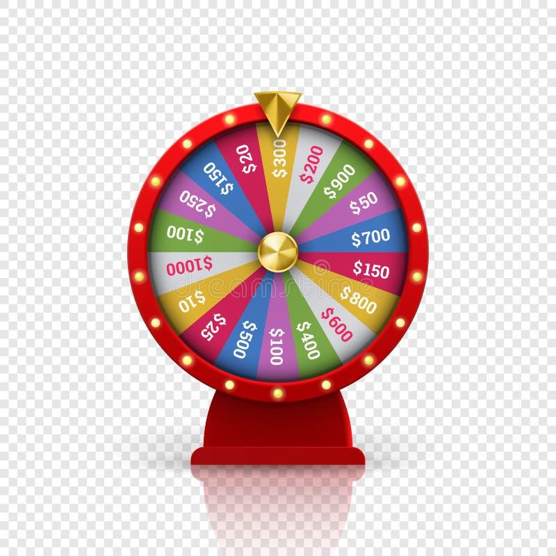 Hjul av lotterit för dobbleri för förmögenhetroulettvektor royaltyfri illustrationer