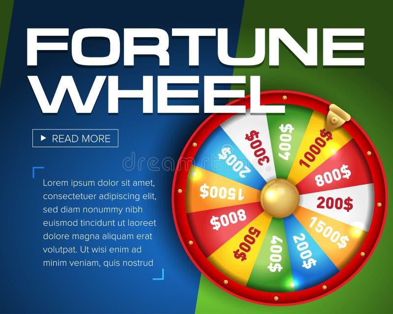 hjul av objekt för förmögenhet 3d på det blåa bakgrundsstället för text vektor illustrationer