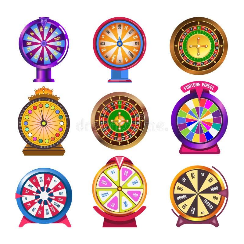 Hjul av symboler för vektor för förmögenhetkasinoroulett royaltyfri illustrationer