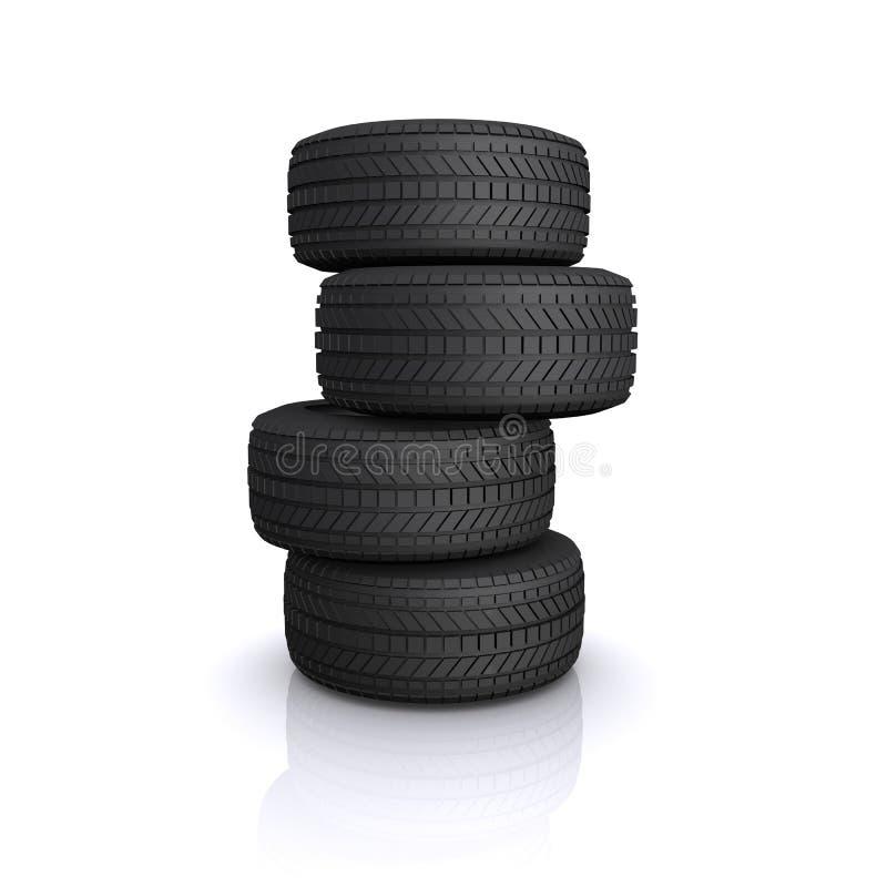 hjul för bilgummihjul stock illustrationer