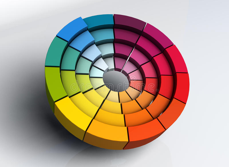 hjul för färg 3d vektor illustrationer