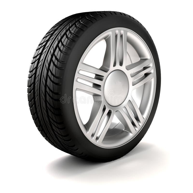hjul för gummihjul 3d och legerings royaltyfri illustrationer